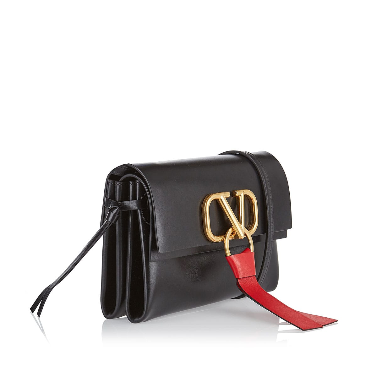 V-ring small leather crossbody bag