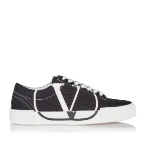 V-logo canvas and suede sneakers