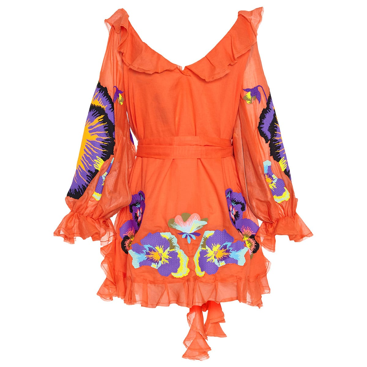 Pansies embroidered frill-trimmed mini dress
