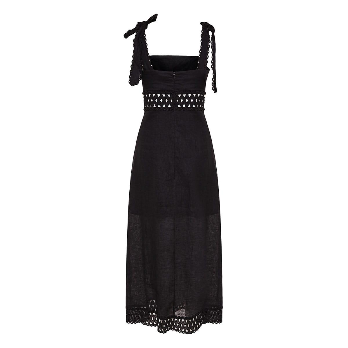 Verity cutout long linen dress