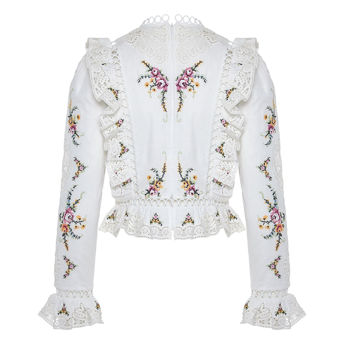 Allia embroidered ruffle-trimmed blouse