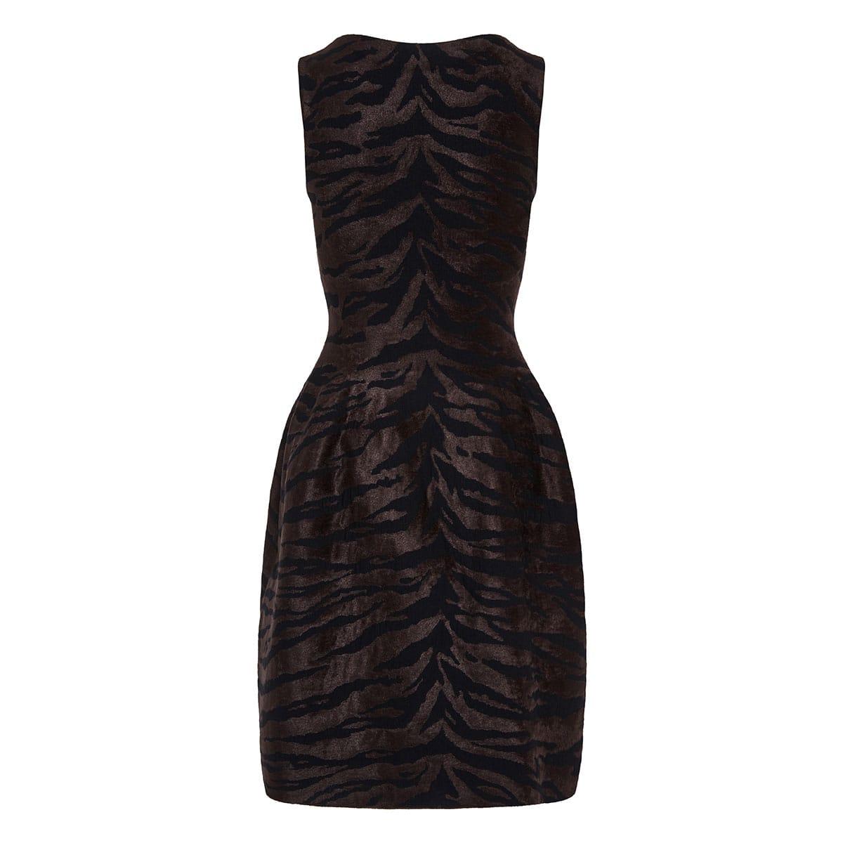 Zebra fit-and-flare jacquard dress