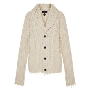Oversized cable-knitted cardigan