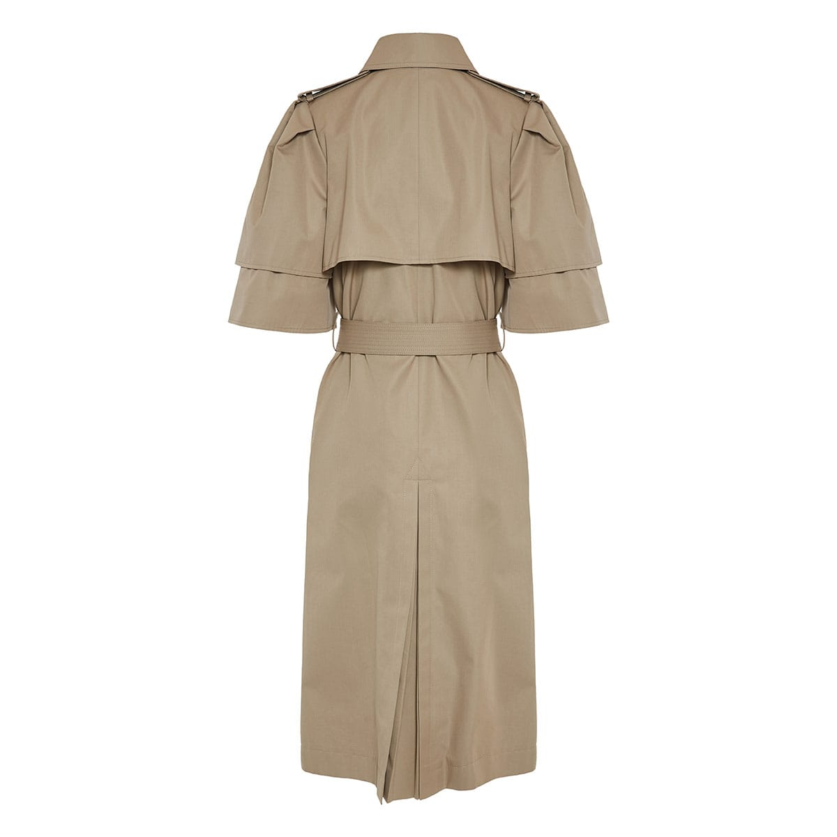 Short-sleeved structured trench coat