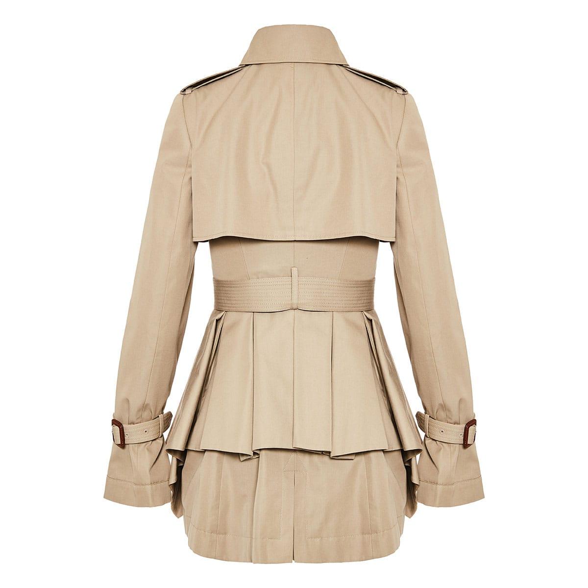 Pleated-peplum short trench coat