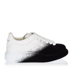 Oversized two-tone leather and velvet sneakers