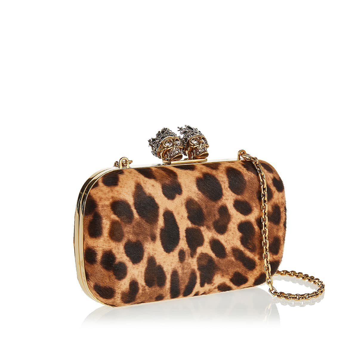 Queen and King leopard calf-hair clutch