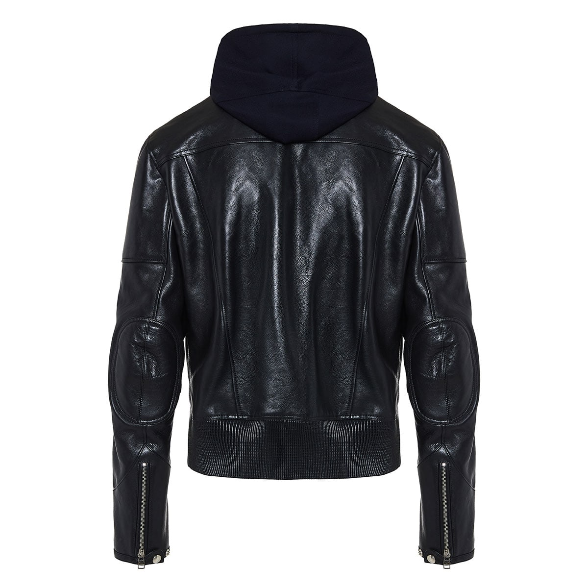 Leather jacket with cotton hood