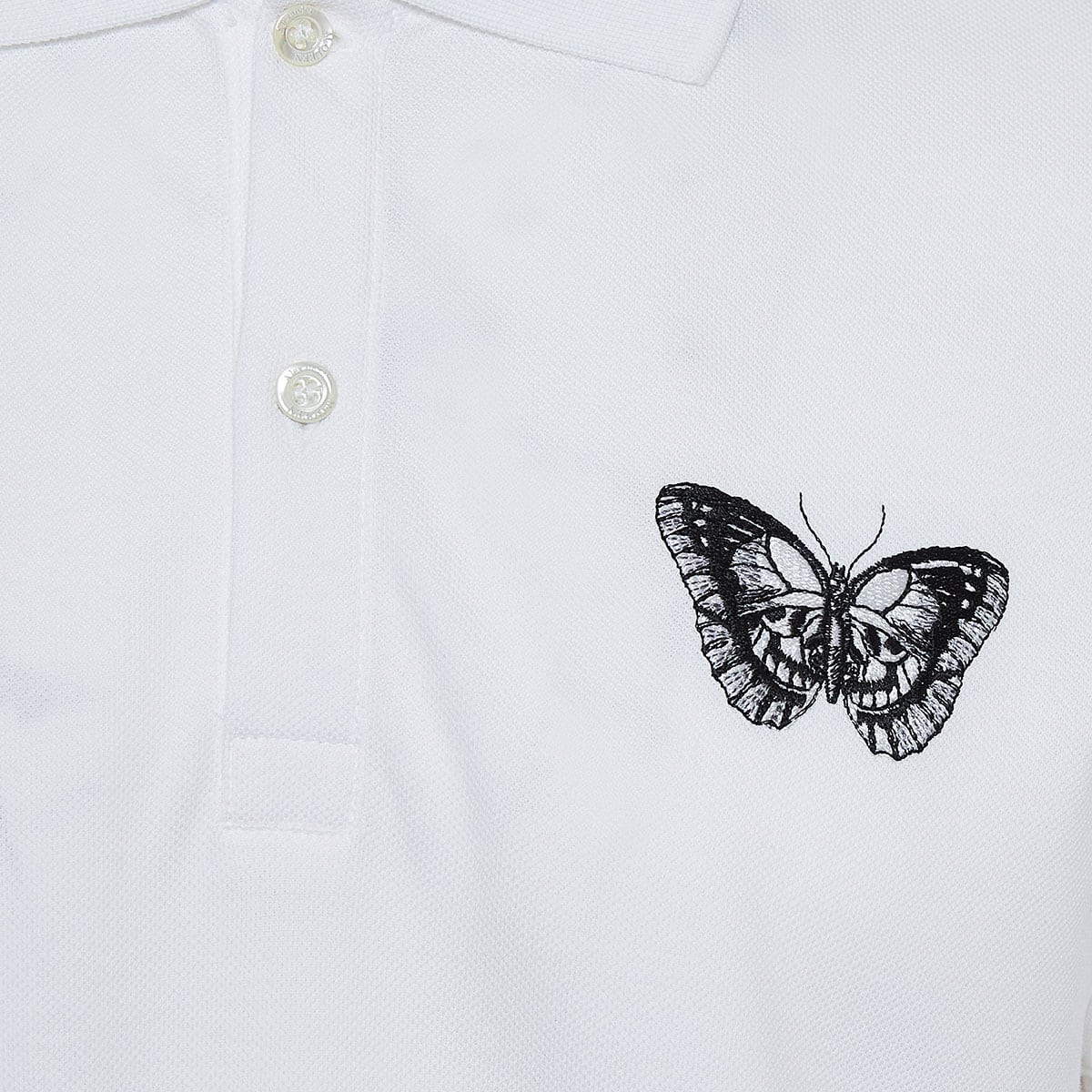Embroidered butterfly polo shirt