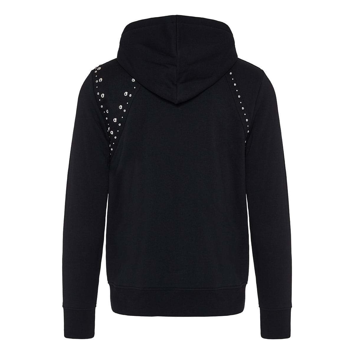 Harness-detailed studded zipper hoodie