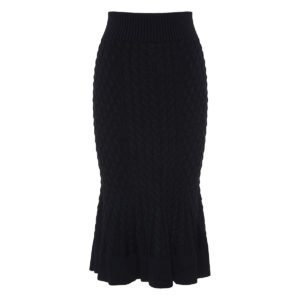 Fluted-hem knitted wool-blend pencil skirt