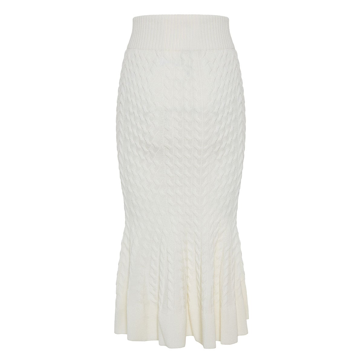 Fluted knitted midi skirt
