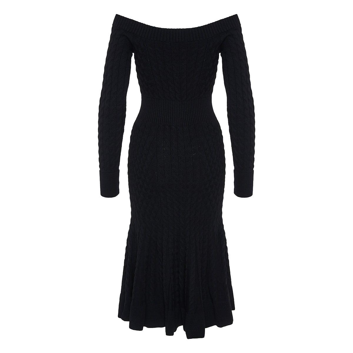 Off-the-shoulder fluted midi dress