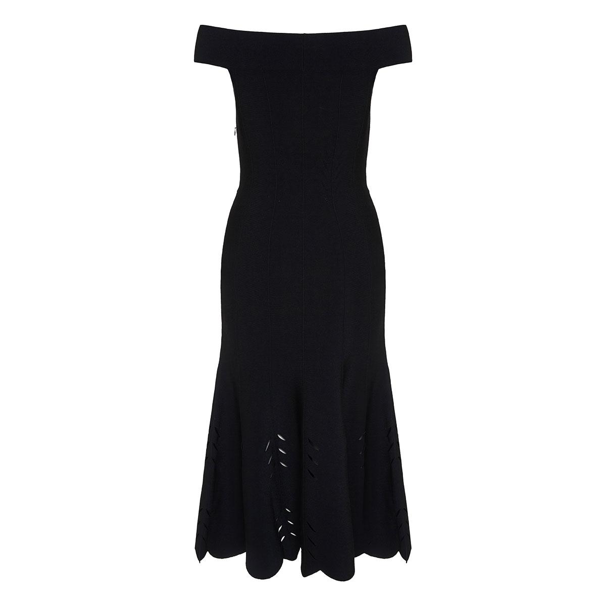 Off-the-shoulder fluted dress