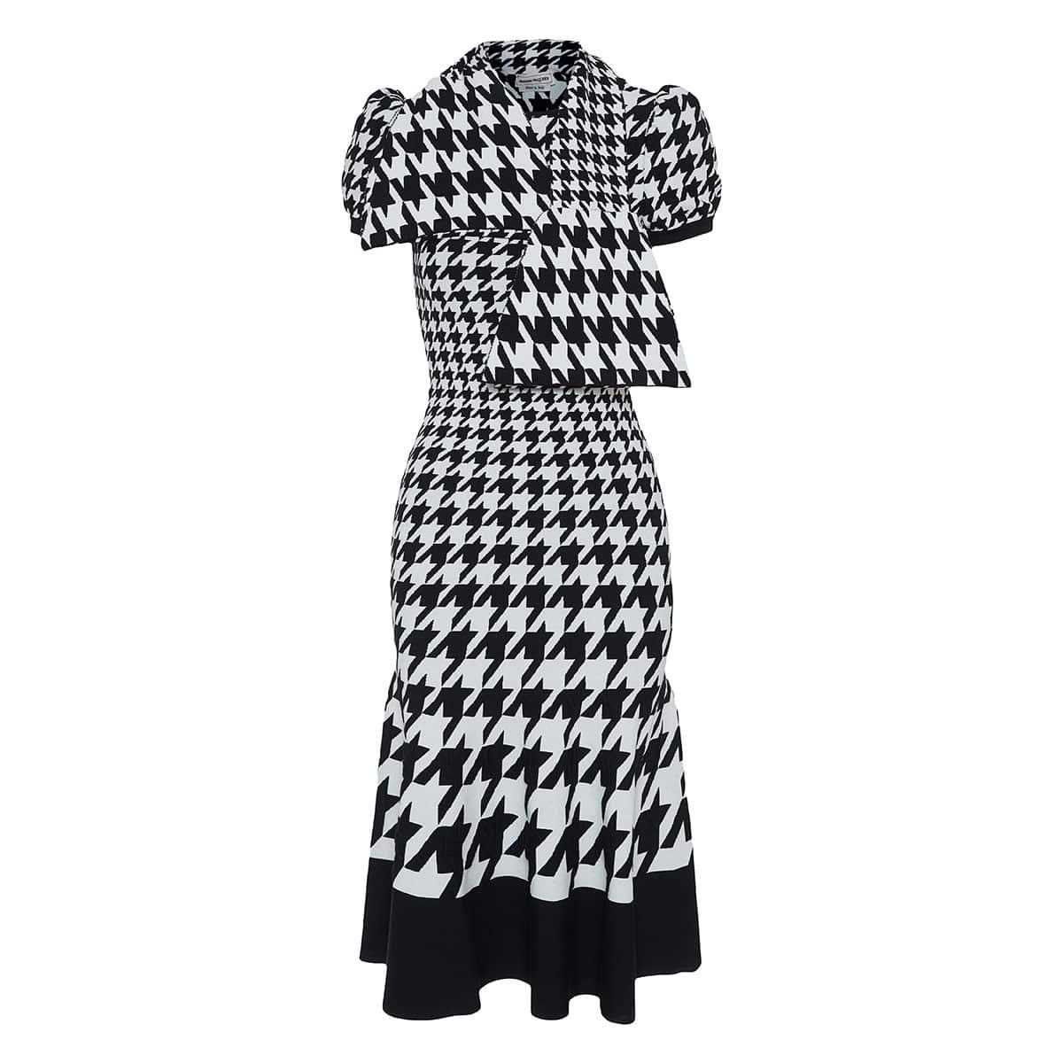 Neck-tie dogtooth jacquard-knit midi dress