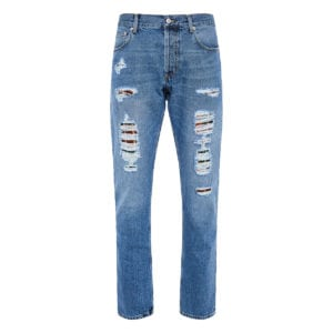 Distressed jeans with frayed detailing
