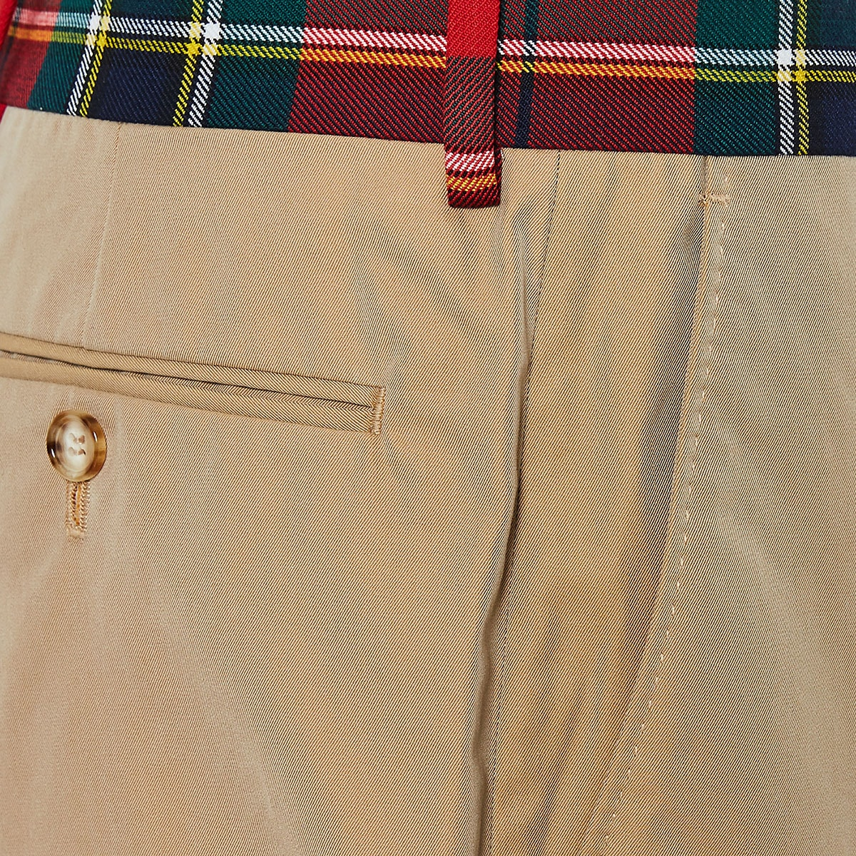 Tartan-trimmed chino trousers