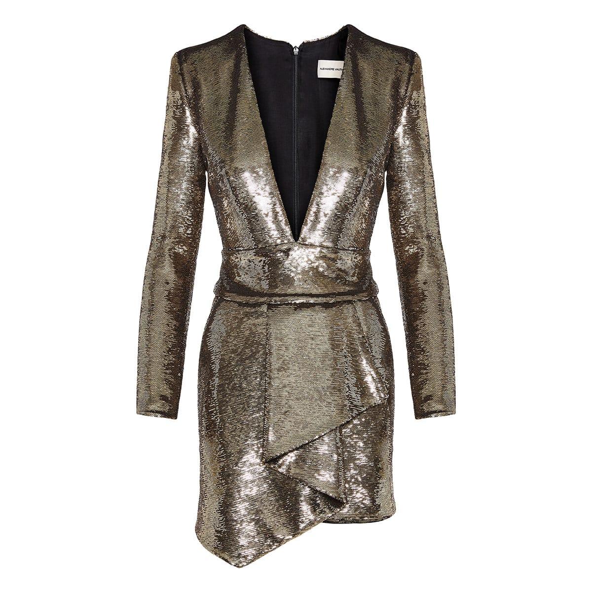Draped sequin mini dress