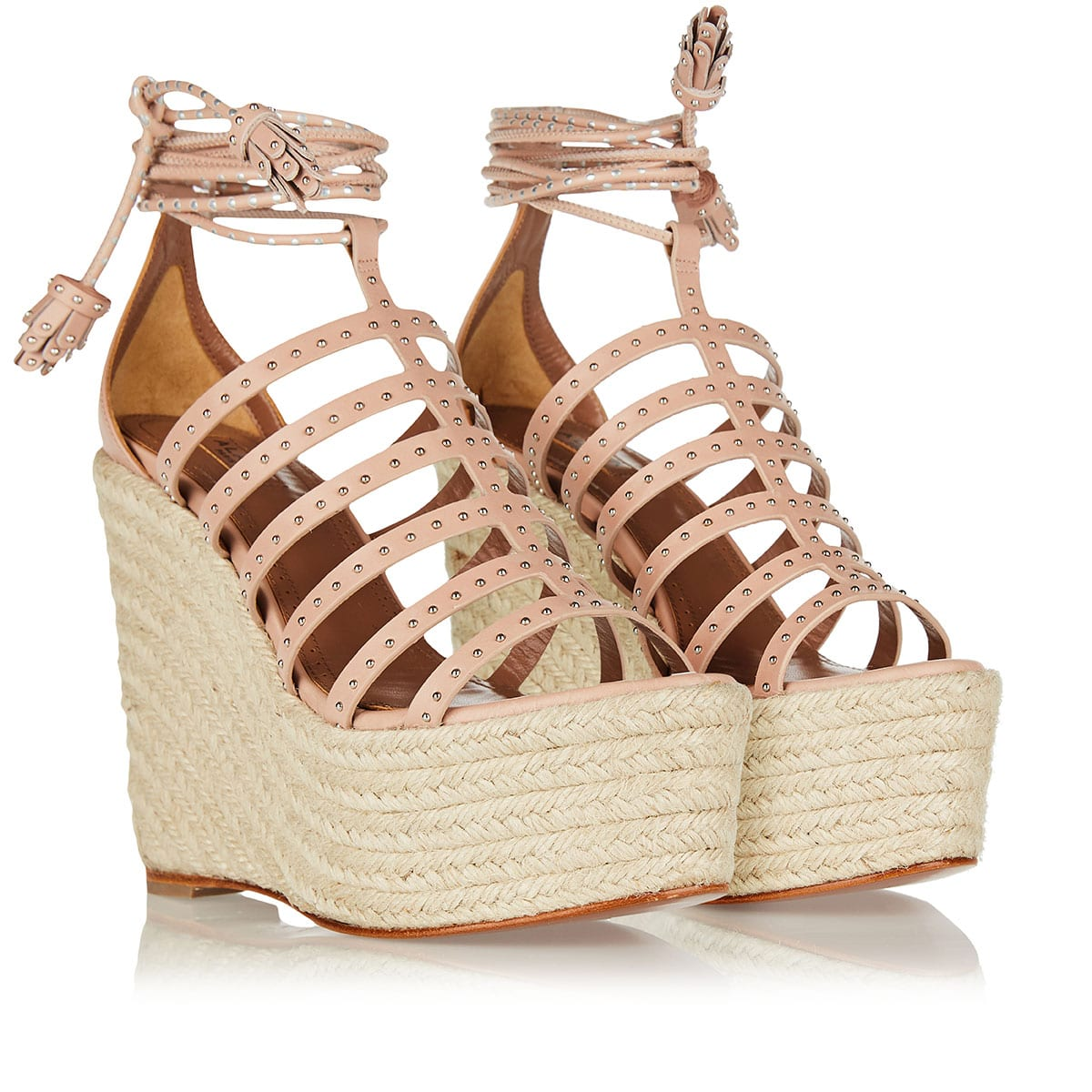 140 lace-up studded wedges