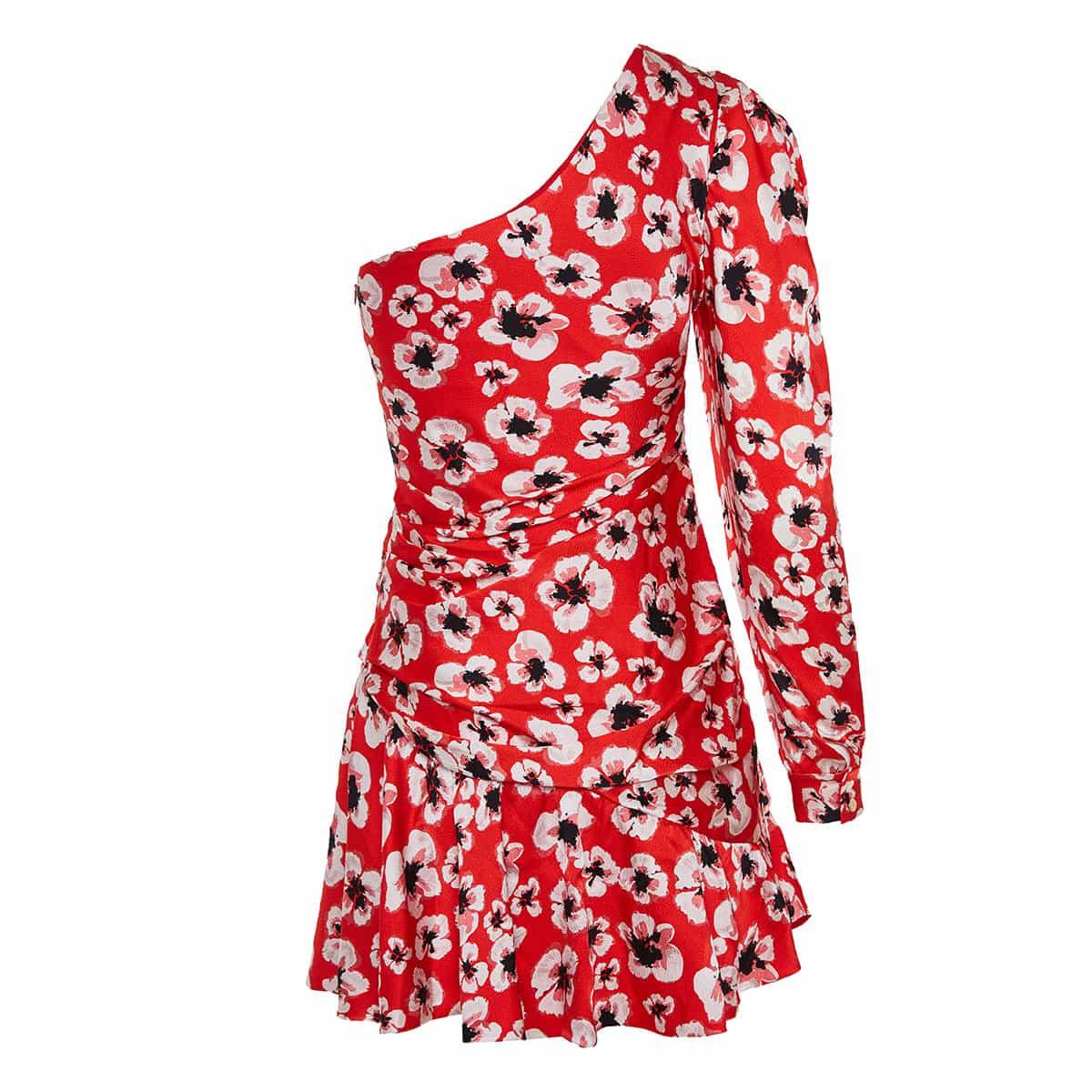 Christina one-sleeve floral mini dress