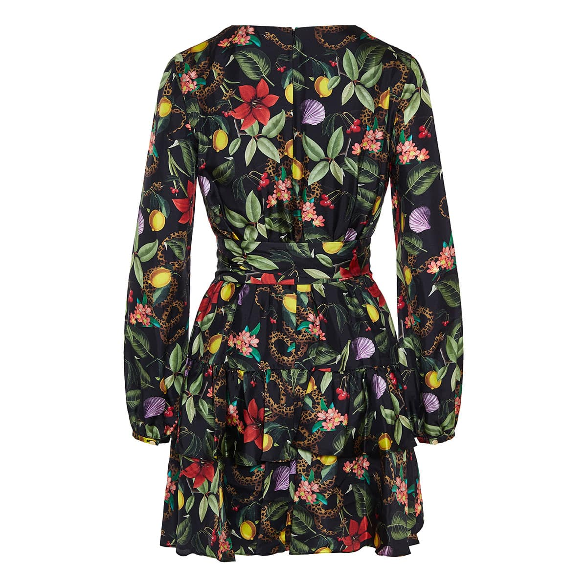 Olivia garden-print silk-twill mini dress
