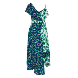 Leone asymmetric floral wrap dress