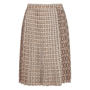 Graphic-printed pleated skirt