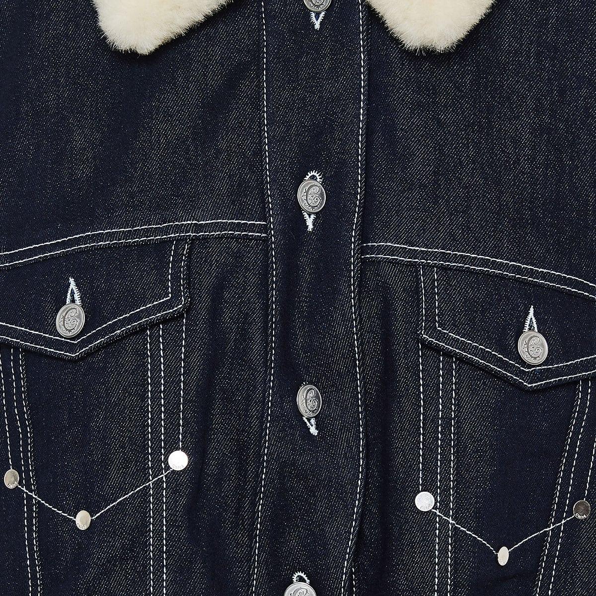 Fur-trimmed denim gilet jacket