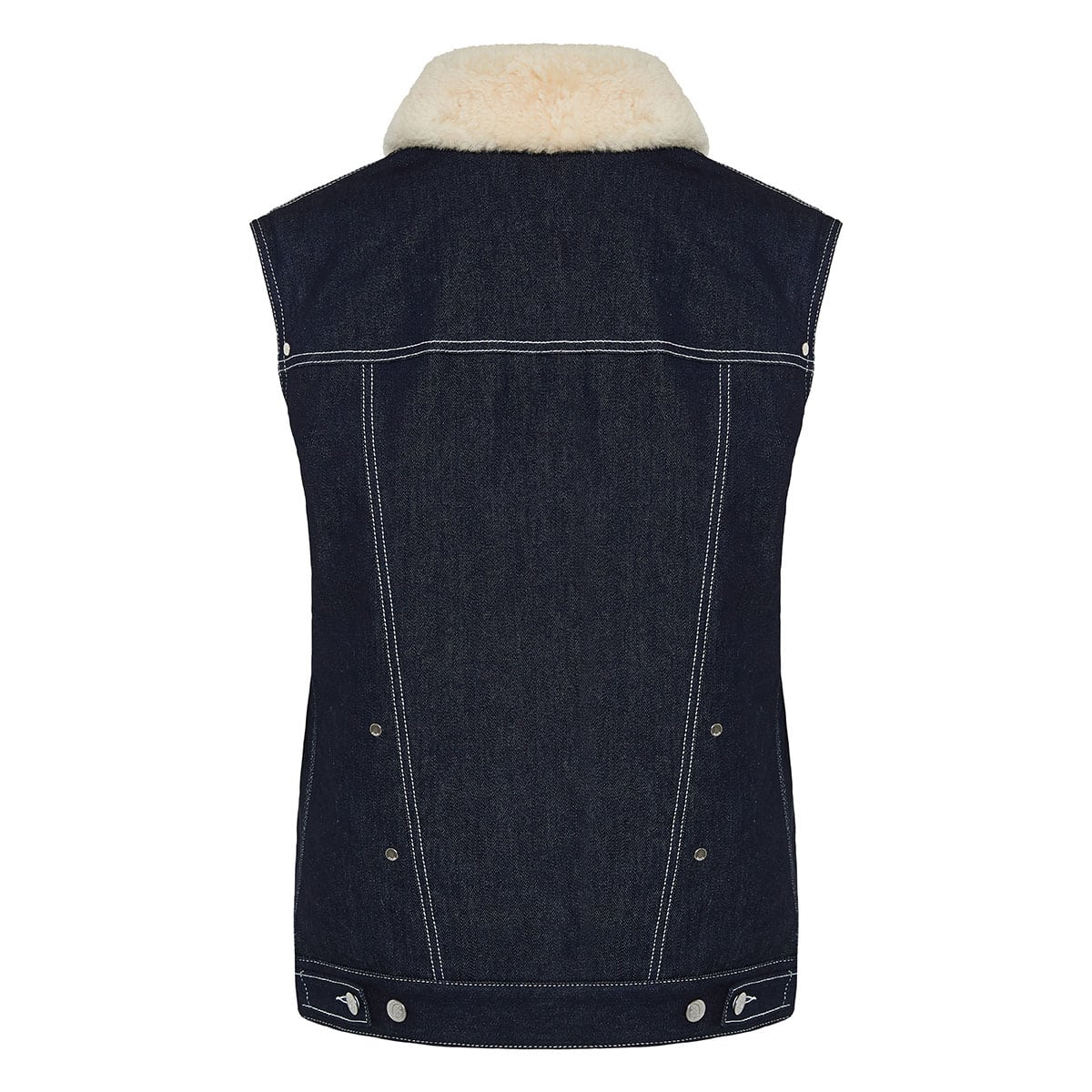 Fur-trimmed denim gilet jacket