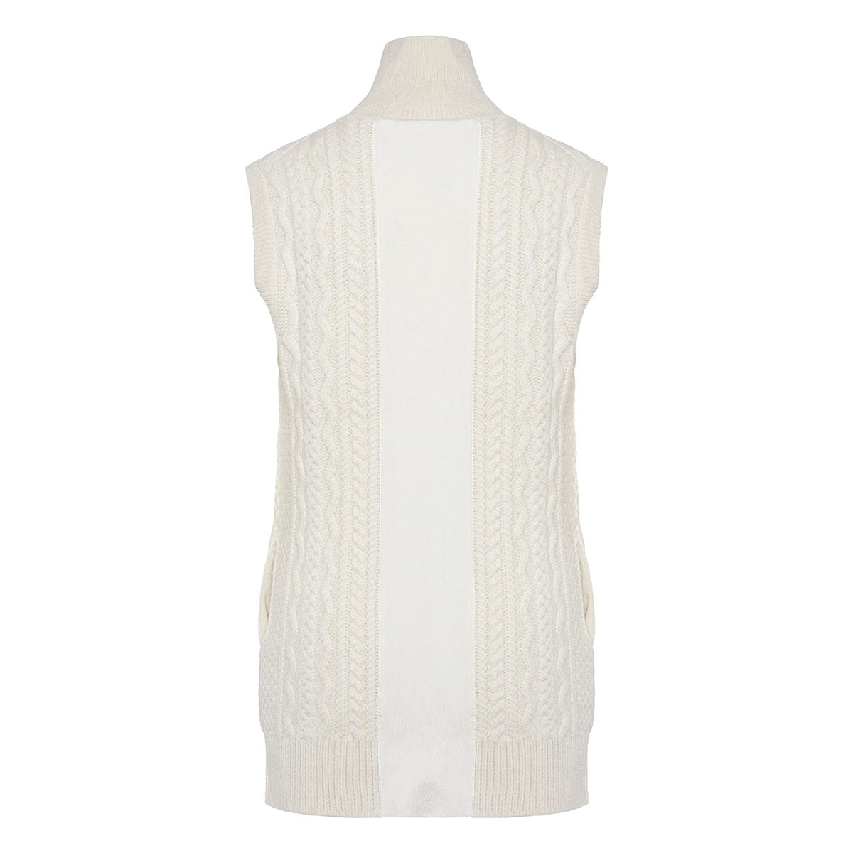 Cable-knitted sleeveless cardigan