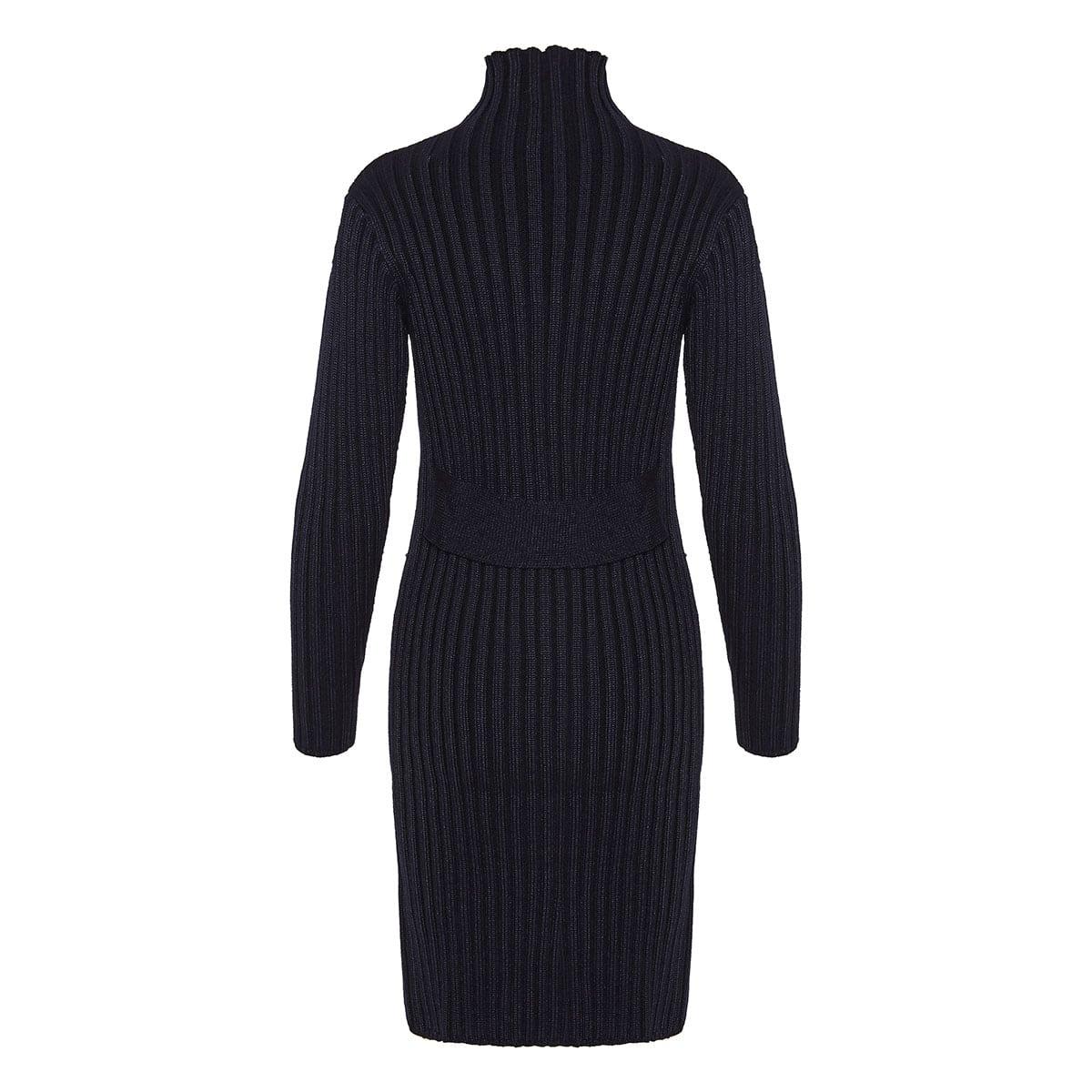 Ribbed-knit zipper mini dress