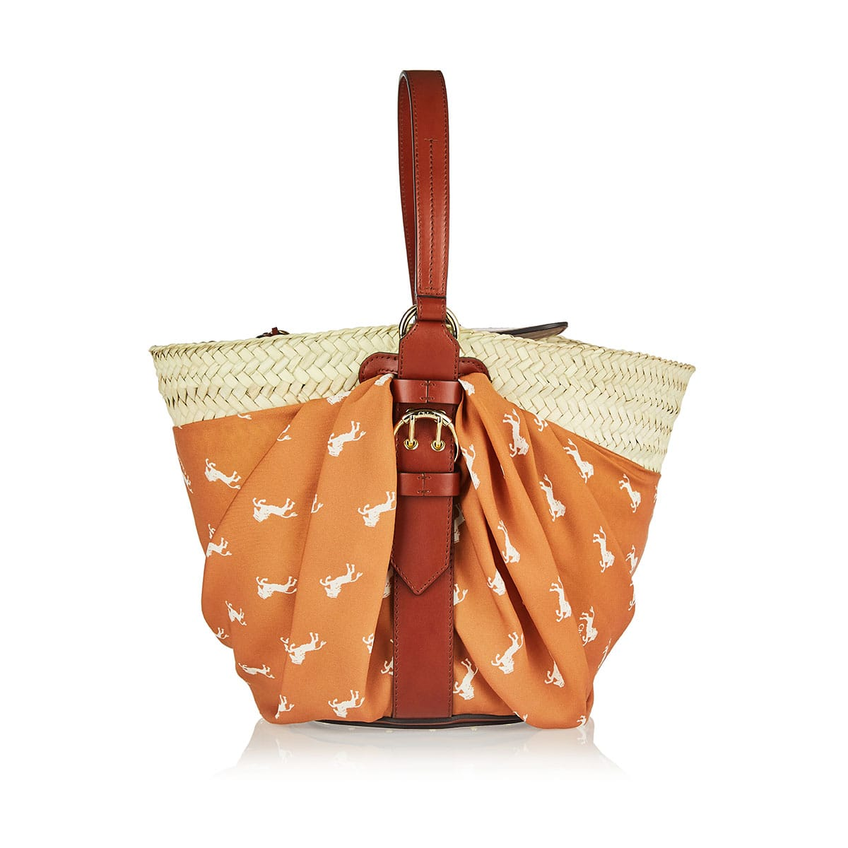 Medium Panier raffia basket bag