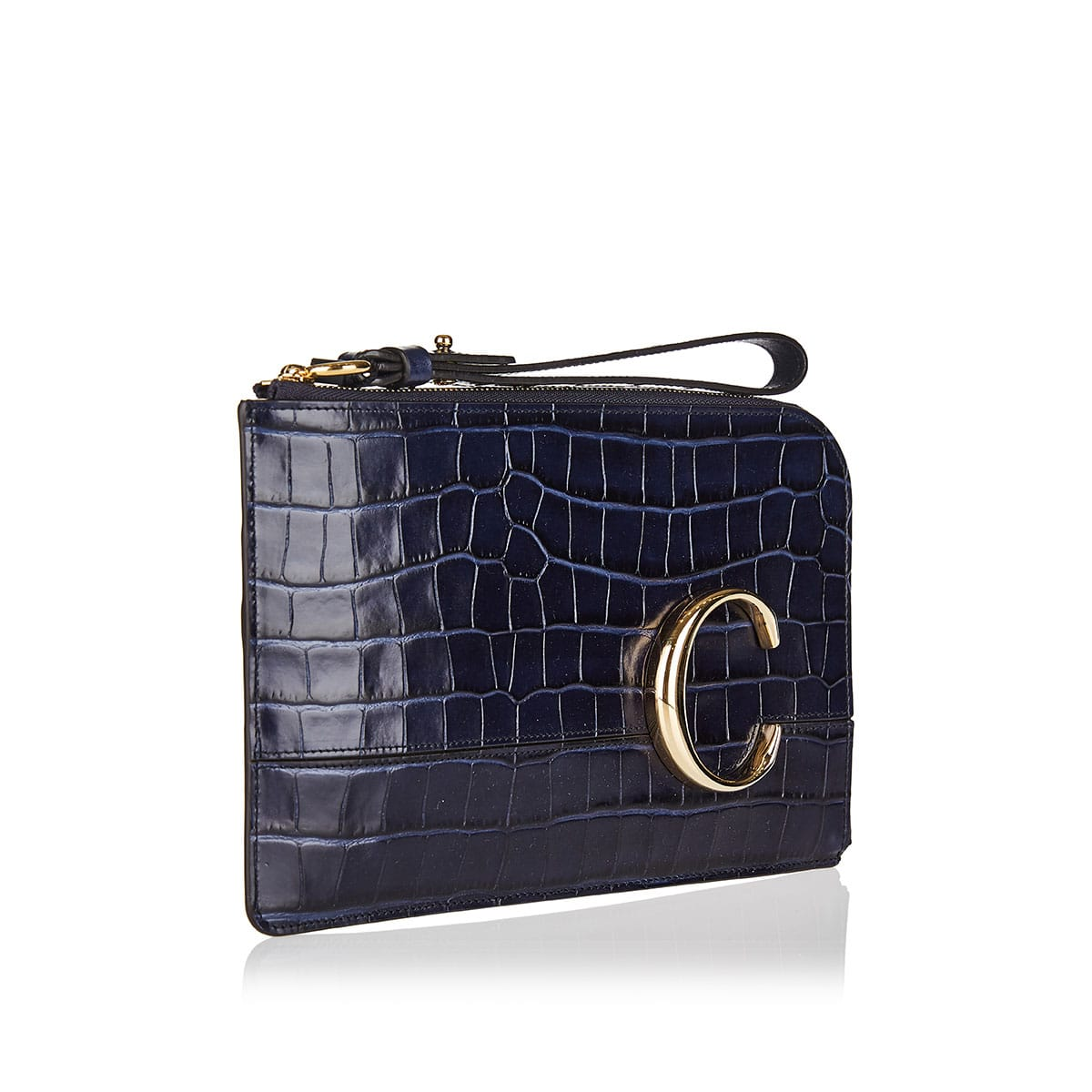 The C croc-effect leather pouch