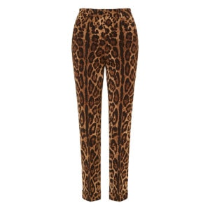 Leopard wool tailored trousers
