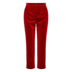Cropped velvet tailored trousers