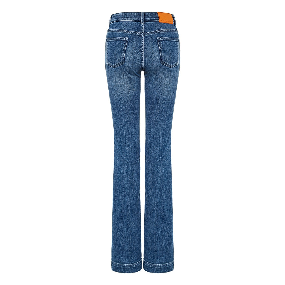Bell-bottom distressed jeans