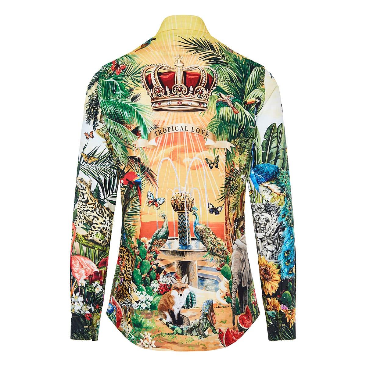 Tropical-printed cotton shirt