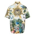 Tropical-printed short-sleeved shirt