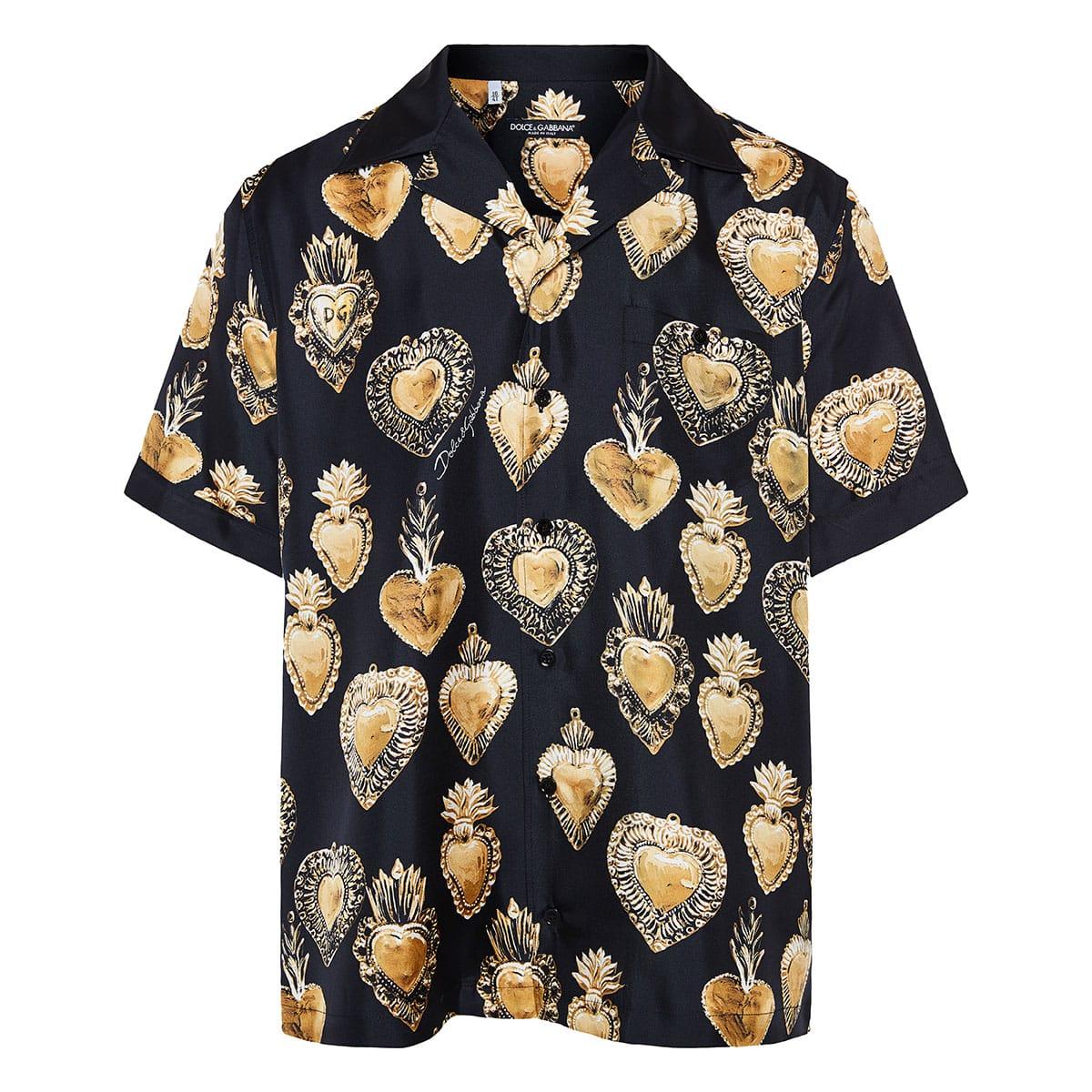Sacred Heart printed silk shirt