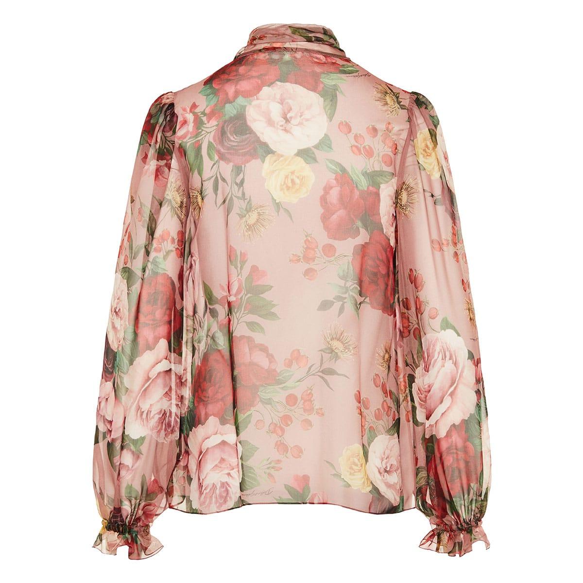 Bow-tie floral chiffon blouse