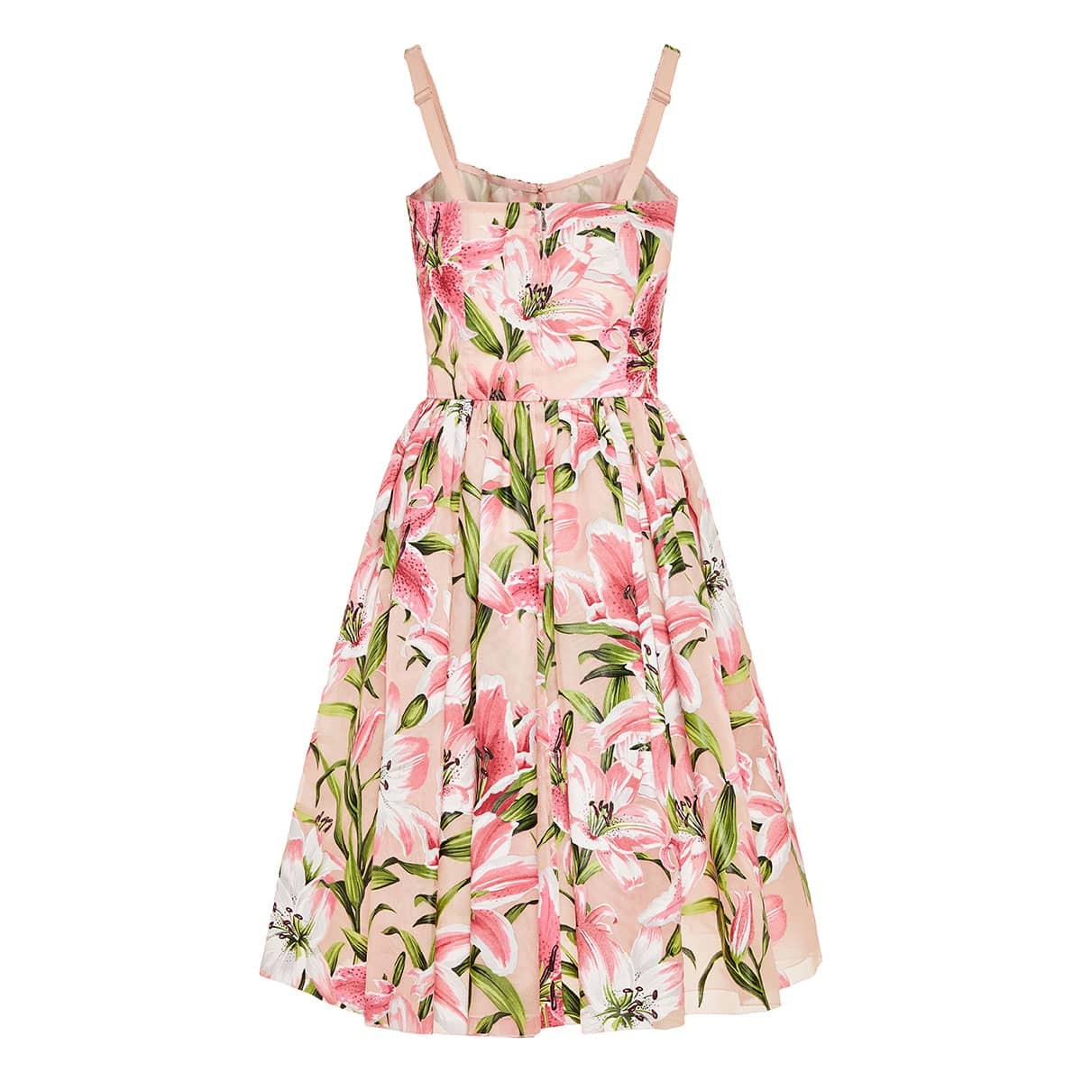 Lily-print flared crepe dress
