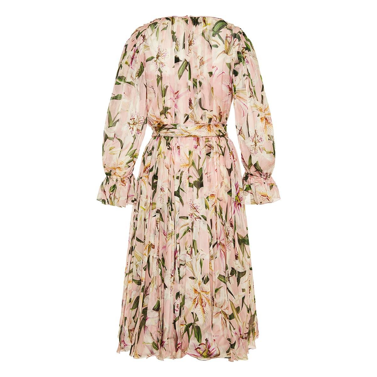 Lily-print wrap midi dress
