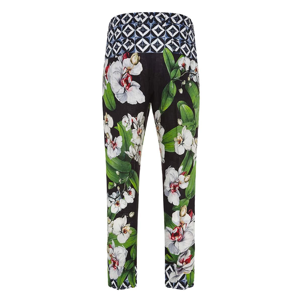 Floral linen trousers