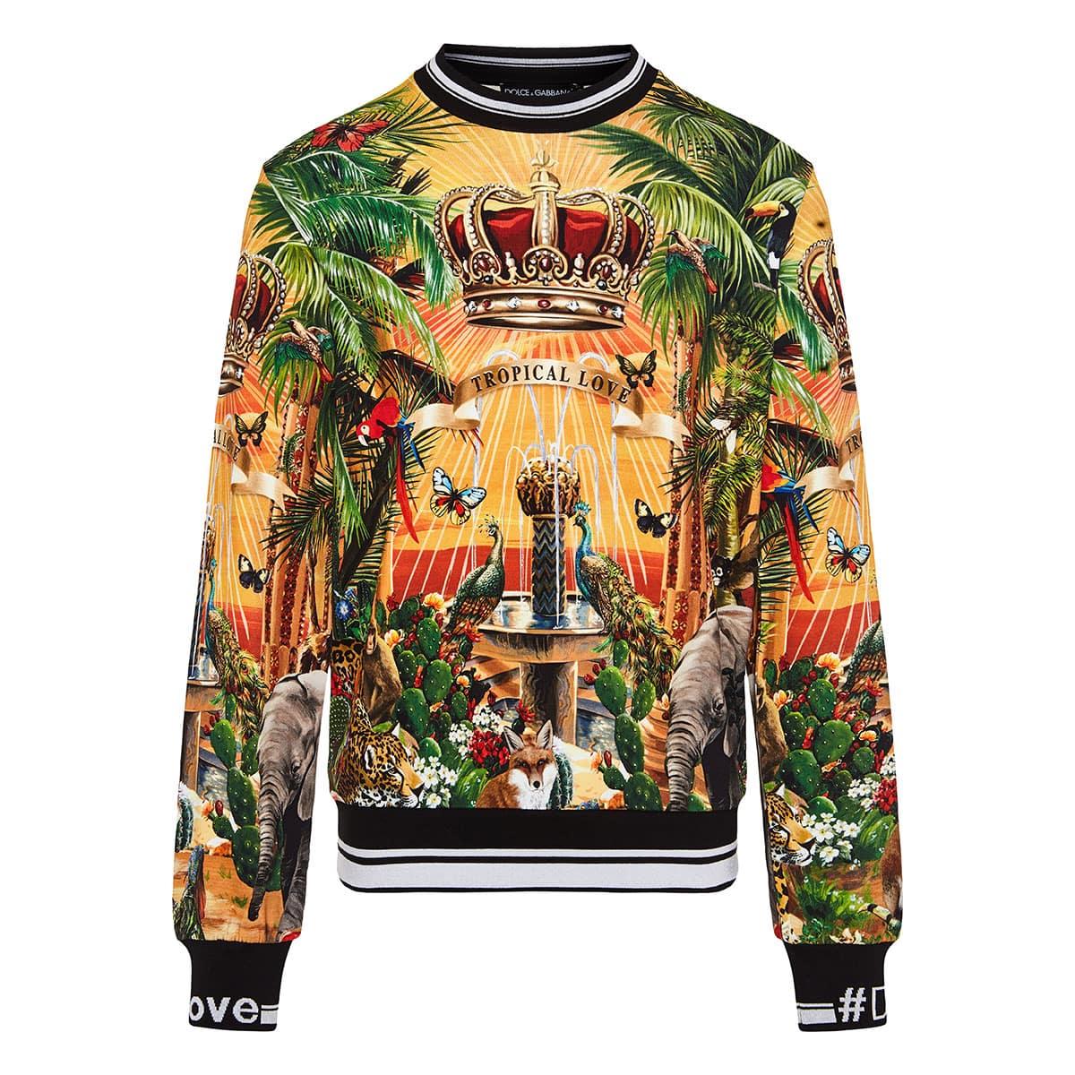 Tropical printed DG king sweatshirt