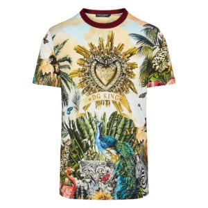 Tropical-printed cotton t-shirt
