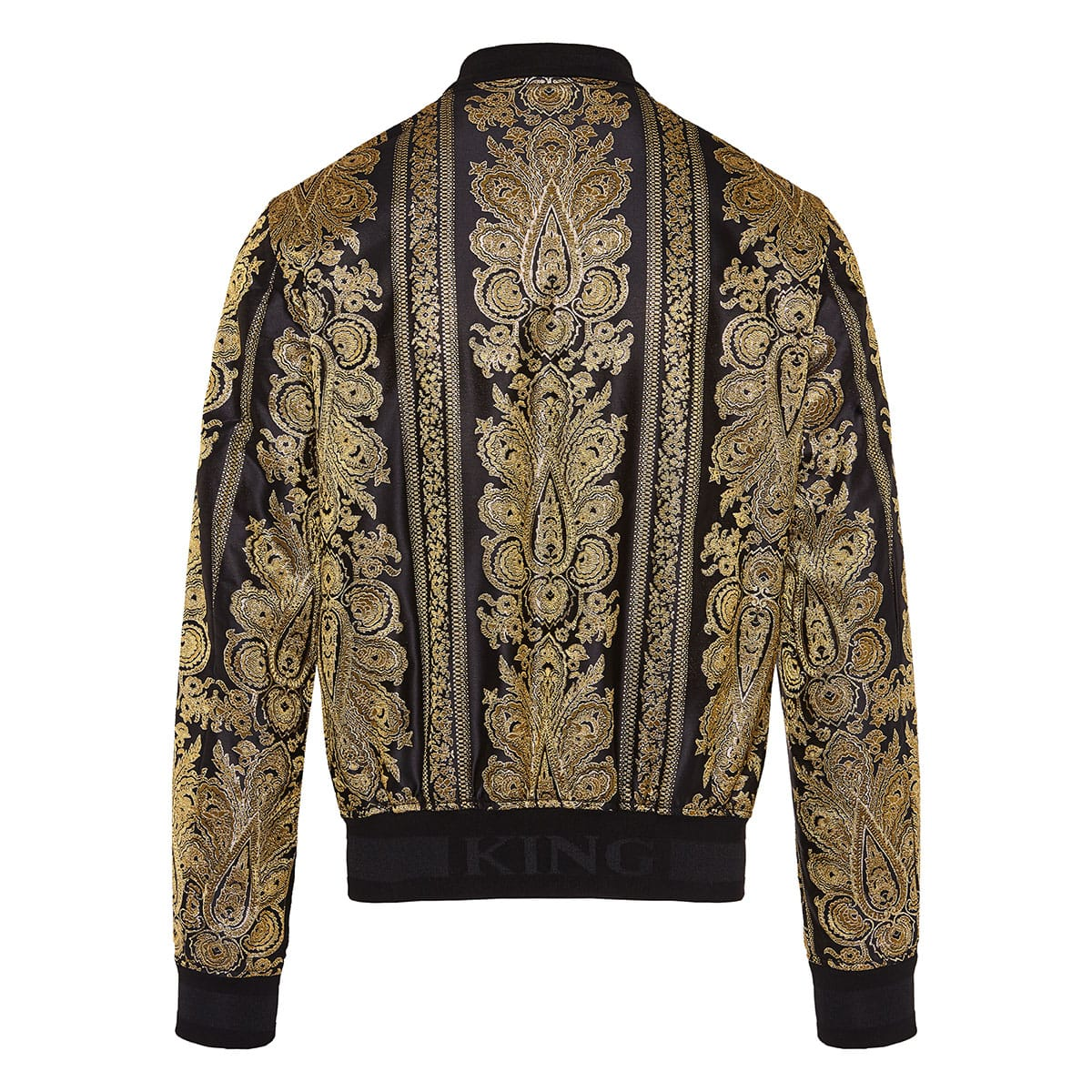 Baroque-print jacquard bomber jacket