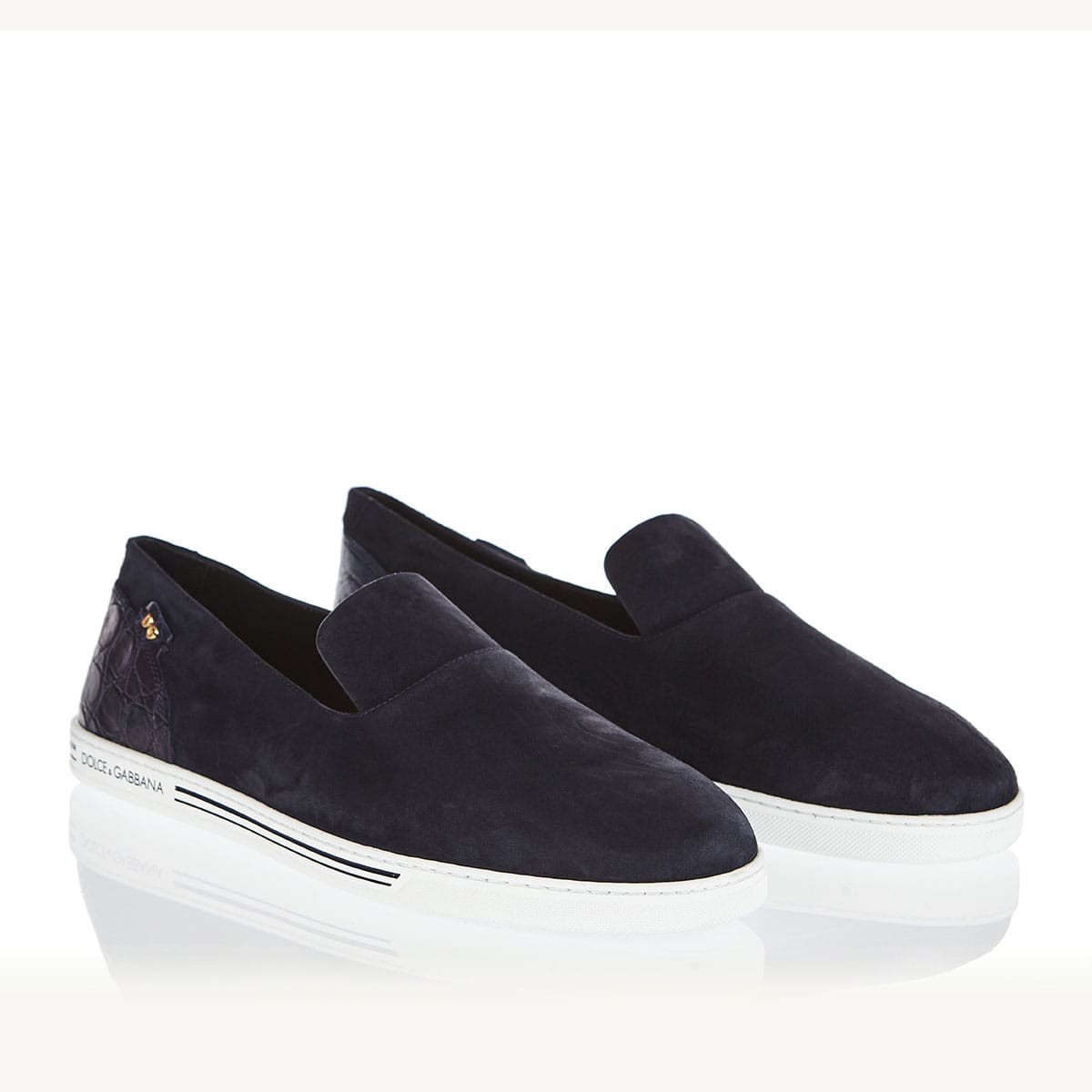 Suede slippers with croc-effect detail