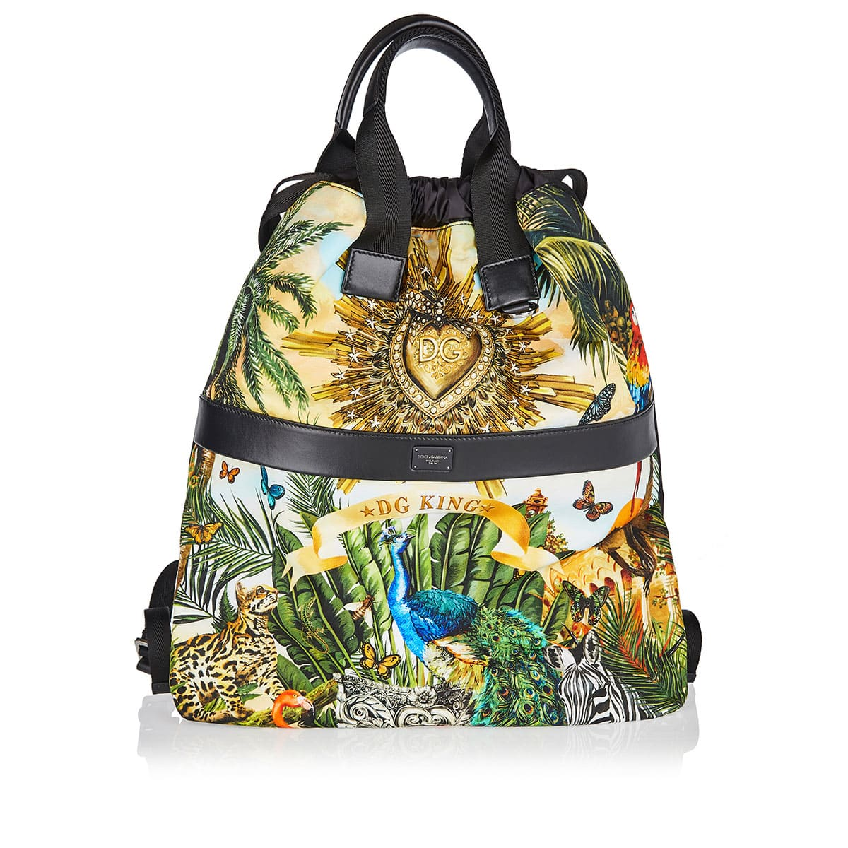 Tropical-printed drawstring backpack