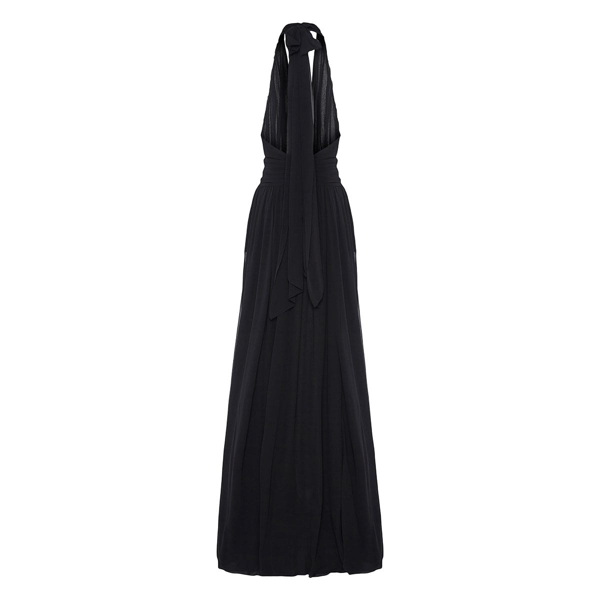 Halterneck draped silk chiffon gown