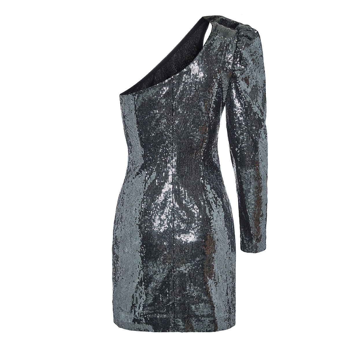 One-sleeved sequin mini dress